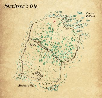 This map is a combination of the parchment map found by Scamp originally with the more detailed map of Slavistka's Isle sold to them by Thrain Lensbearer.
